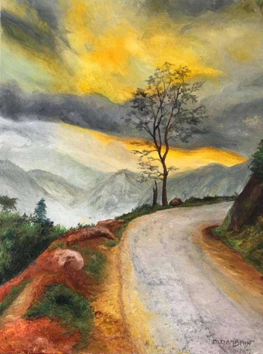 Coucher de soleil sur route de montagne