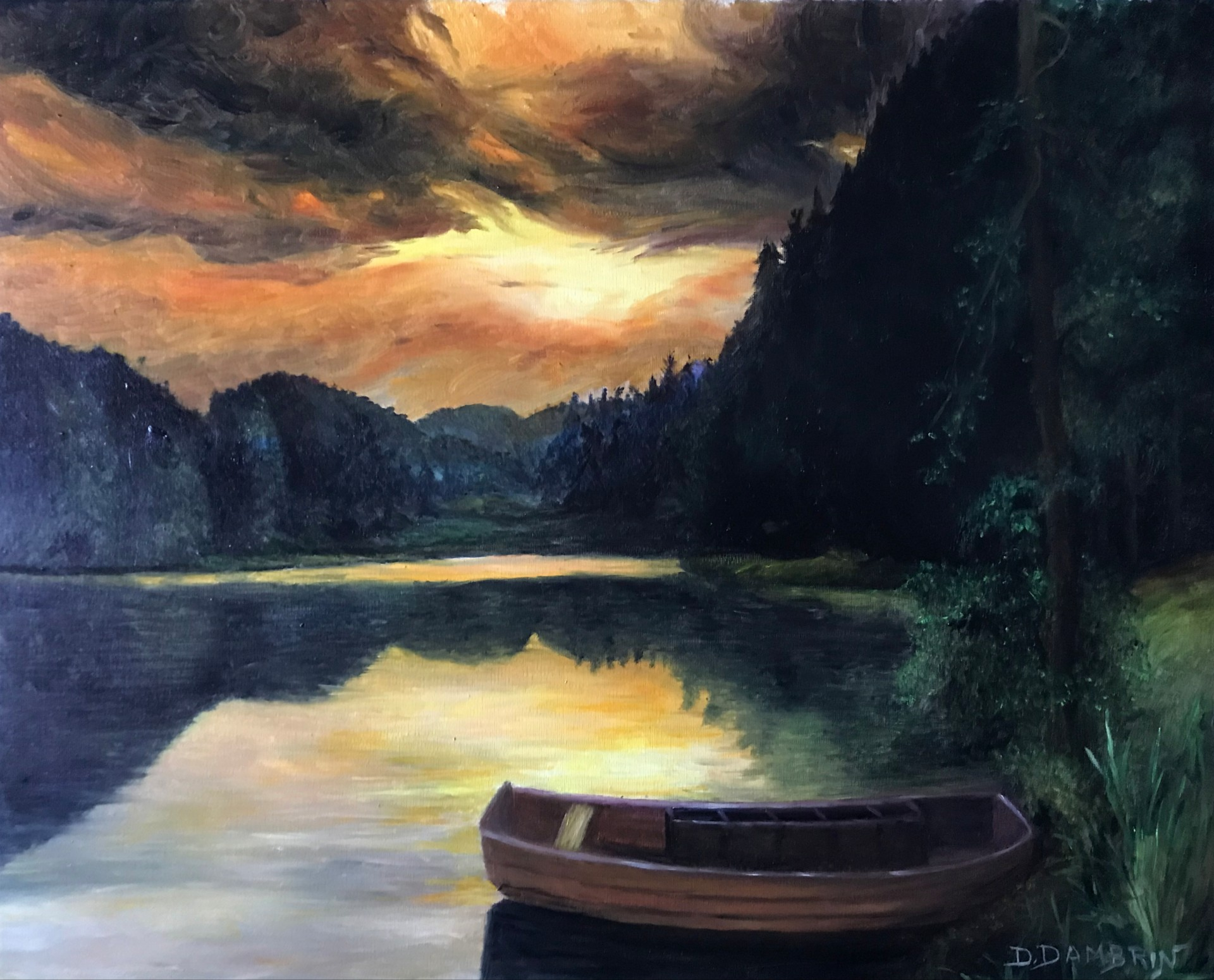 Coucher de soleil sur barge